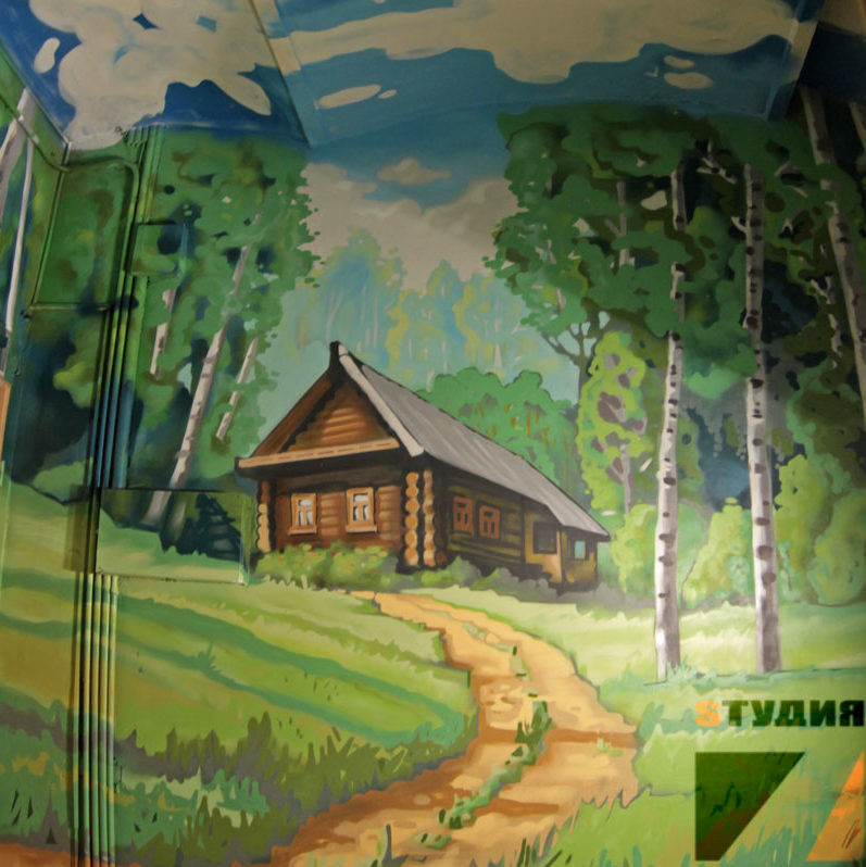 Роспись стен Есенин в Хостеле