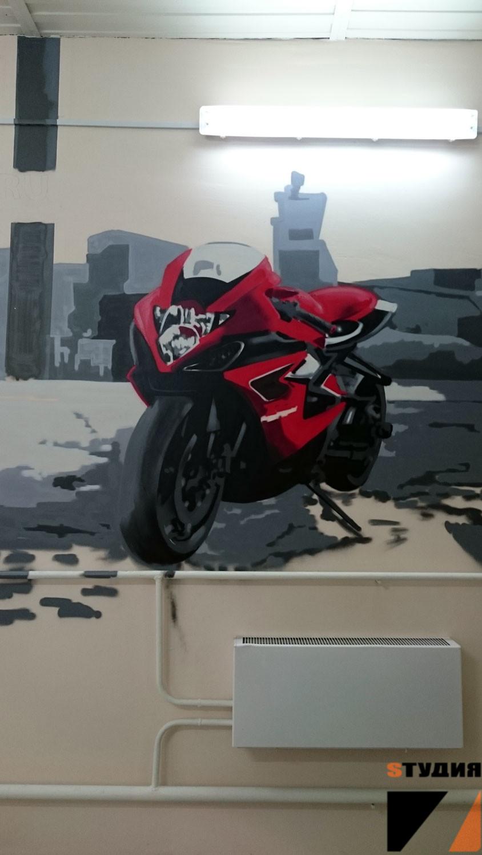Роспись стен Мотосервис Fast-bikes.ru