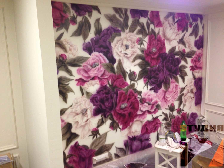 Роспись стен Цветы в салоне красоты