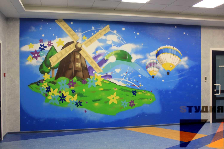 Роспись стен Роспись детской поликлиники Эксимер в г. Нижний Новгород