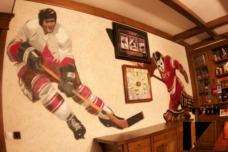 Роспись стен Изображения хоккеистов в кабинете