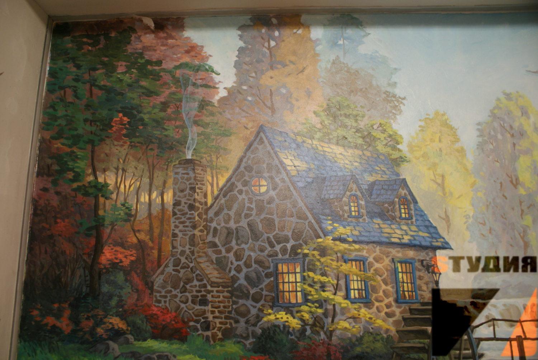 Роспись стен Роспись декоративной ниши в жилой комнате
