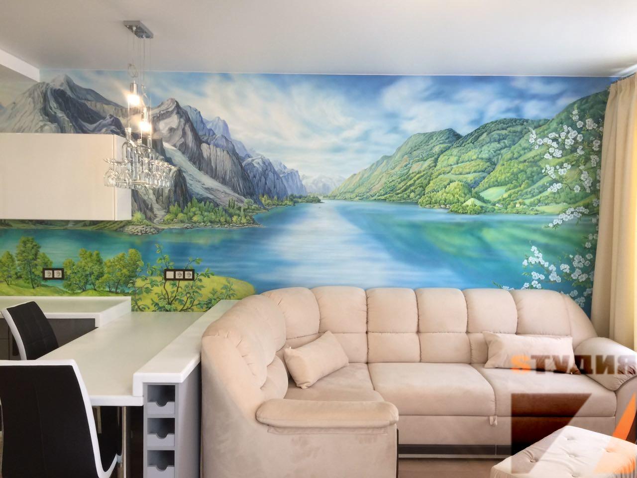 Роспись стен Живопись в кухне-столовой