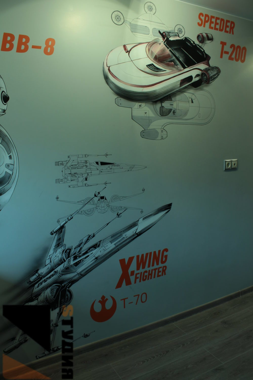 Роспись стен Звездные войны в детской комнате