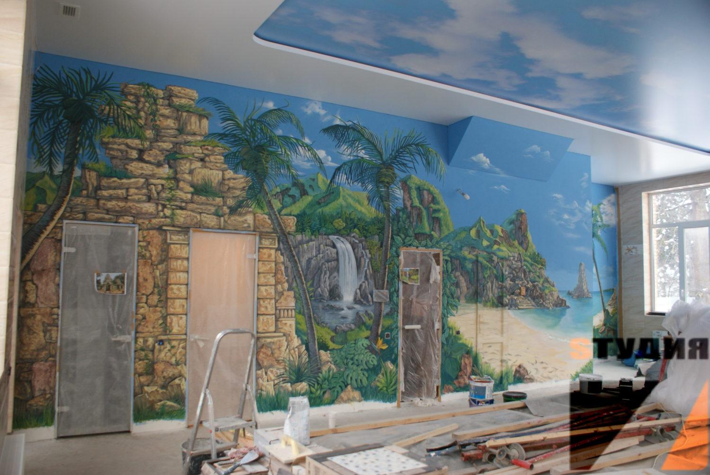 Роспись стен Джунгли в бассейне