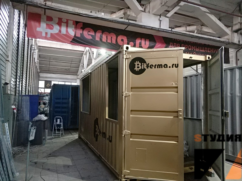 Роспись стен Брендирование морского контейнера для Bitferma.ru