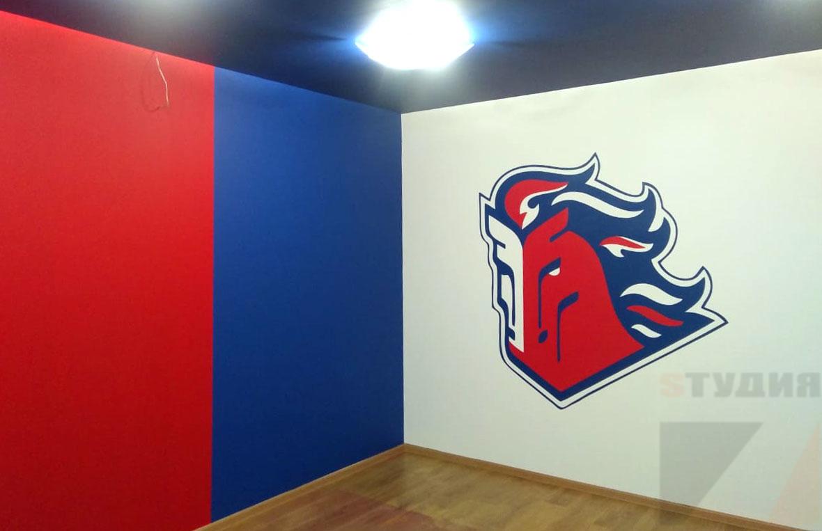 Роспись стен Логотип в тренировочном зале