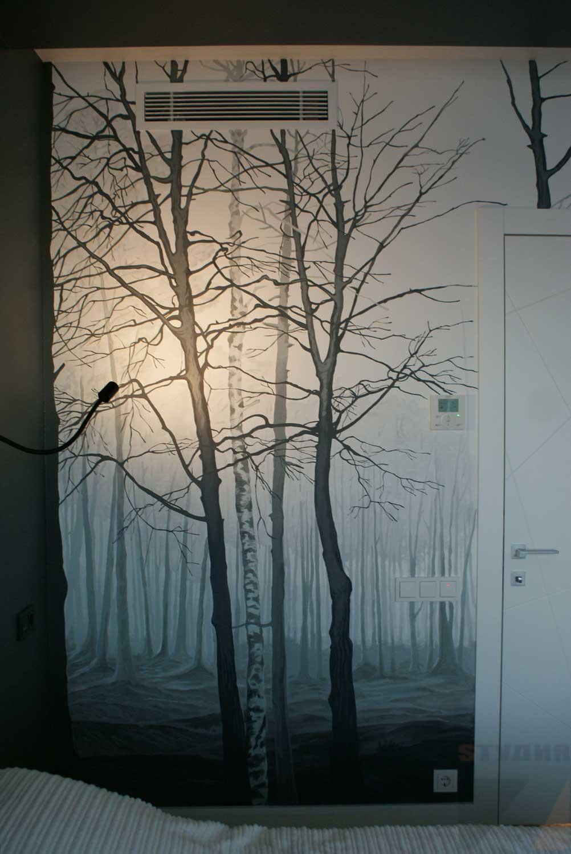 Роспись стен Чаща леса в спальной