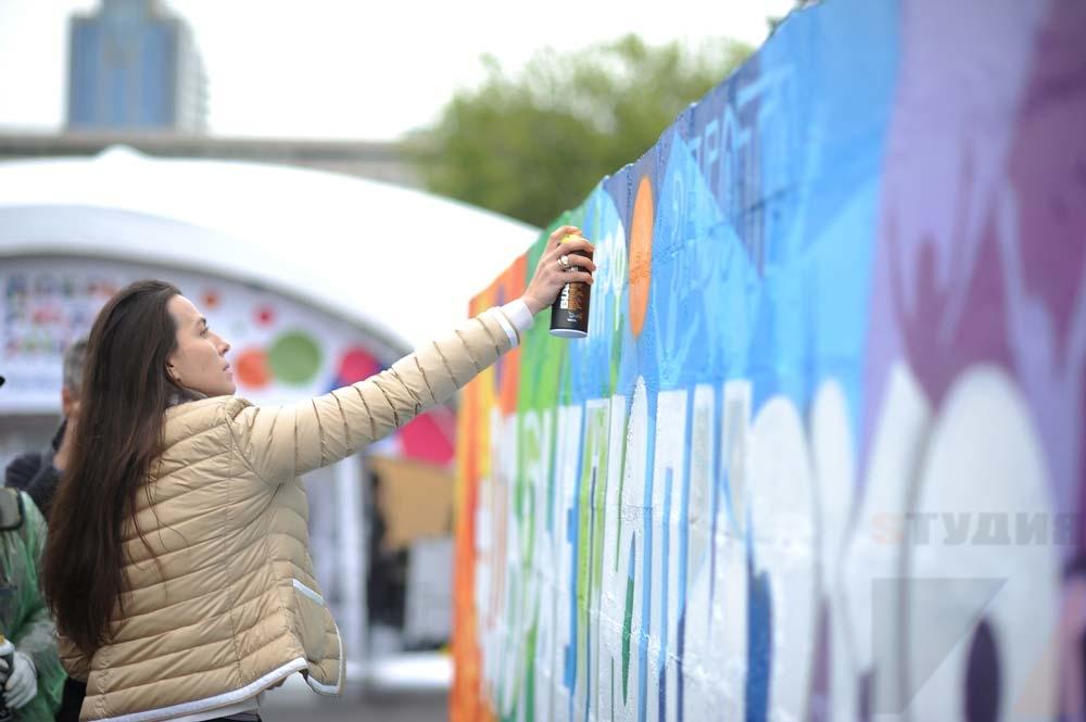 Роспись стен Граффити на фестивале «Добрые Люди»